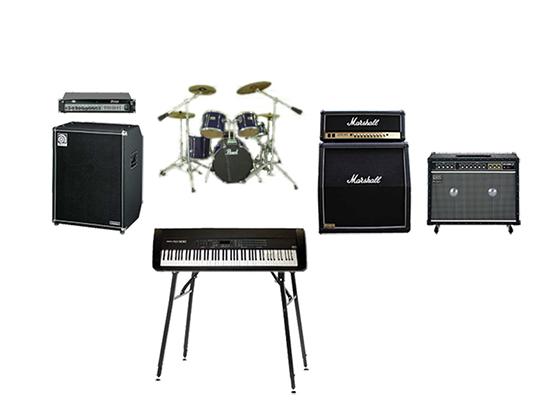 ドラムセット・ギター・ベースアンプ・エレクトリックピアノ
